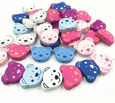 50pcs New Bear Wooden Beads Baby Pacifier Clip Spacer Beading  Accessories  24mm