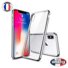 Housse Silicone Transparente Contour Chromé Rose pour Apple iPhone X