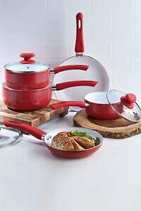 5-Piece Red Aluminium Ribbed Pan Set