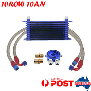 10 Row 10AN Engine Transmission Oil Cooler W/ Filter Adapter Hose Kit Universal
