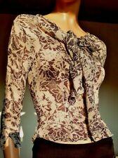 SCAPA elegante blusa camicia S 40 sisal agave fiori beige marrone leggera crepes