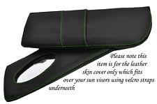 Vert coutures fits LOTUS EXCEL 83-91 2x pare-soleil cuir couvre uniquement