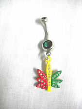 RED YELLOW GREEN RASTA COLORS & CRYSTAL POT LEAF CHARM 14g BELLY RING NAVEL BAR