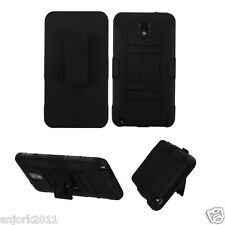 Samsung Galaxy Note 3 AA Hybrid Armor w/Stand + Holster Combo Black