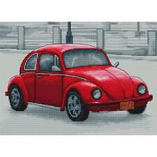 Retro Red VW Beetle - Cross Stitch Kit - 26.5cm x 19.5cm
