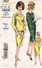 1960's VTG VOGUE SPECIAL DESIGN One Piece Dress and Overblouse Pattern 5827 S 14