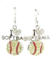Silver plated/ I Love Softball dangle earrings