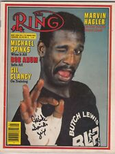 THE RING MAGAZINE MICHAEL SPINKS BOXING HOFer AUTOGRAPHED COVER MAY 1983