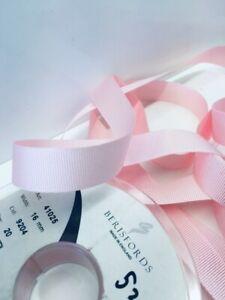 1.5m Berisfords Pink Grosgrain Ribbon. Art 41025 Col 9204. 16mm Wide
