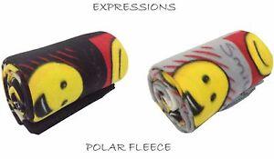 Emoji Expressions Smiley Face Black Grey Polar Fleece Throw Blanket 127x152cm