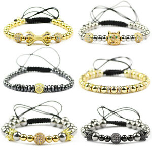 Luxury Men's Zircon Wolf Crown Claw Copper Beads Bracelets Braiding Bracelets