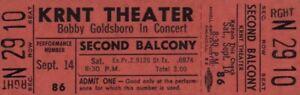 BOBBY GOLDSBORO 1968 HONEY TOUR UNUSED KRNT CONCERT TICKET / NMT 2 MINT No. 4