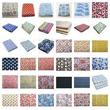 Indian Handmade Hand Block Natural Print Cotton Fabric Sanganeri Vintage Running