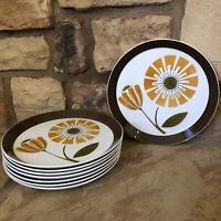 Mikasa Duplex Ben Seibel Brunch 2504 Brown Mid Century Dinner Plates Flower