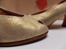 SERVAS Damen pumps Schuhe Sandalen Gr.37 UK 4 Leder Gold TRUE VINTAGE