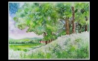 """Grosses Aquarell 70 x 50 cm, """"At the Edge of the Forest"""", LOVELY LANDSCAPE Art."""