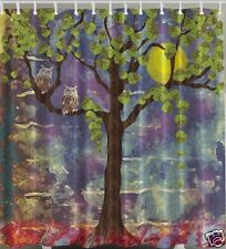 Owls In A Tree Fabric SHOWER CURTAIN Leaves Bird Paint Artistic Night Moon Bath