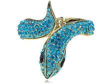 Fun Aquamarine Blue Zircon Crystal Rhinestune Snake Animal Bracelet Bangle Cuff