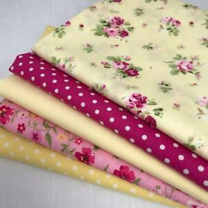 Rose & Hubble 100% Cotton Fabrics Cerise & Yellow - 5 Fat quarter Bundle AM 59