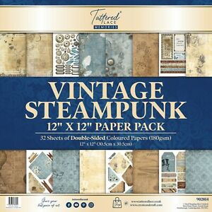 """Tattered Lace - 12"""" x 12"""" Paper Pack, 32 Sheets , Vintage Steampunk"""