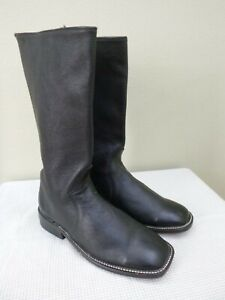 Vtg Custom Handmade 7.5 Black Leather Mid Zip Western Cowboy Cowgirl Boots Shoes