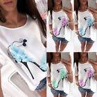 UK Femmes Manche Courte Chemisier Haut femmes coton en vrac décontracté T-shirt