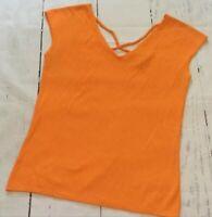 Versailles Top Size Medium Women's Orange Sleeveless V-Neck Top