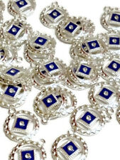 10 Pc NA Blue Enamel & Crystal Pendant Charms Silver Tone - Narcotics Anonymous