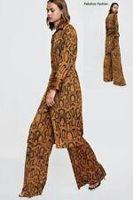 Multicolor 2 Piece Snake Skin Print Button Down Coat Dress Hi Waist Pants L