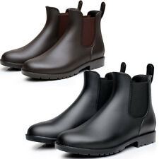 Fashion Mens Womens Waterproof Mid Calf Ankle Chelsea Rubber Rain Boots Shoes