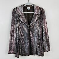 Chico's Size Medium 8 1 Snake Print Sequin Jacket Silver Brown Flashy Fun Party
