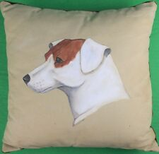 """""""Hand-Painted Canvas Jack Russell Pillow"""""""