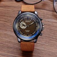 Herren Edelstahl Leder Sportuhr Armbanduhr Analog Quarz Casual Uhren Wristwatch