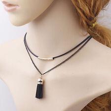 Women Vintage Black Leather Multi-layer Collar Choker Necklace Pendant Chain Hot