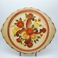 Scandinavian Tole Painted Floral Tray Resin Wall Decor Rustic Farmhouse Wear #C