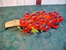 Mid-Century Orange Acrylic Grape Cluster On Drift Wood