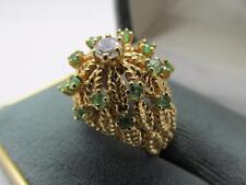 Vintage 14k Solid Yellow Gold Diamond And Emerald Ring Sz 5