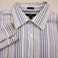 Banana Republic Mens Woven Shirt Long Sleeve Large Slim Fit Striped Blue Beige