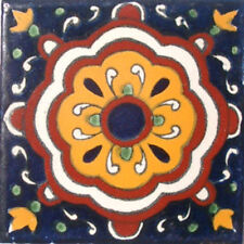 #C020) Mexican Tile sample Ceramic Handmade 4x4 inch, GET MANY AS YOU NEED !!