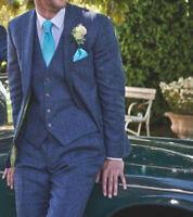3 Piece Blue Men's Wool Suit Herringbone Tweed Vintage Groom Tuxedo Wedding Suit