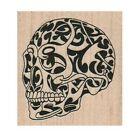 NEW Tattooed Skull RUBBER STAMP, Halloween Stamp, Spooky Halloween Stamp, Skull
