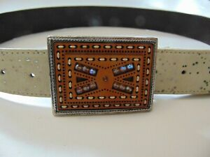 FIORI BELT Suede Leather - Made in ITALY - Cibel Steel/Leather Buckle - Size XL
