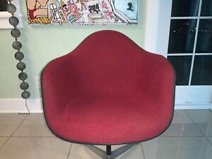 Vtg Herman Miller Eames Red Upholstered Red/White Arm Shell Chair/ no base