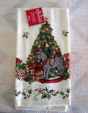 Christmas Tree Rocking Horse Kitchen Towel Kay Dee Snowy Night Pattern