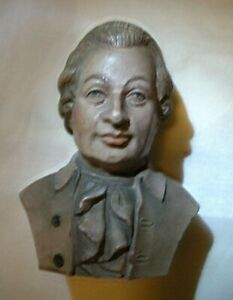 OLD VTG MINI CARVED OR PRESSED WOOD PAINTED BUST CARVING OF COLONIAL MAN