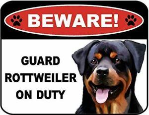 Beware Guard Rottweiler on Duty (v1) 9 inch x 11.5 inch Laminated Dog Sign