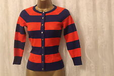 Karen Millen Colourful  Mesh Knit Textured Stripe Popper Cardigan Top Orange 1 8