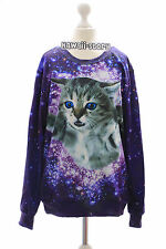 TY-G188 Cat Katze Sky Universum lila Gothic Punk Sweatshirt Pullover Harajuku