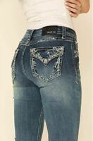 Grace in LA Jeans Women's Western Embroidered Flap Pocket Bootcut Stretch Jeans