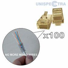 Innovative! 100 x rj45 cat5e CAVO DI RETE ETHERNET LAN A CRIMPARE Fine Connettore a Spina